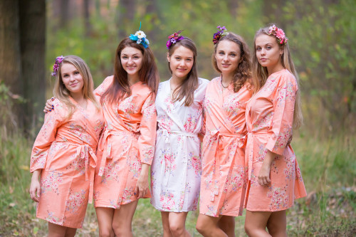 Peach Faded Floral Robes for bridesmaids