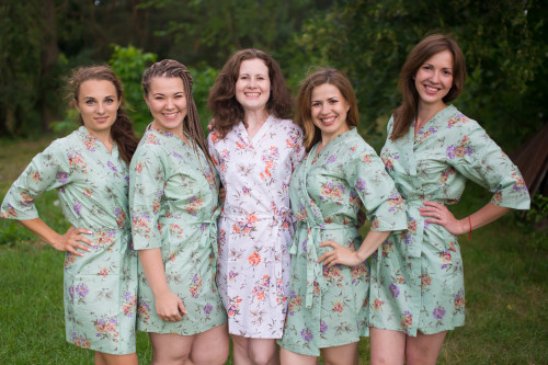 Grayed Jade Romantic Floral pattered Robes for bridesmaids   Getting Ready Bridal Robes