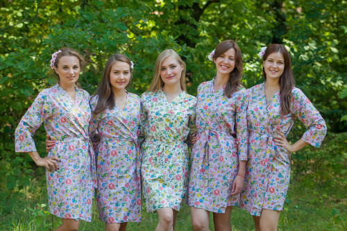 Lilac Happy Flowers pattered Robes for bridesmaids | Getting Ready Bridal Robes