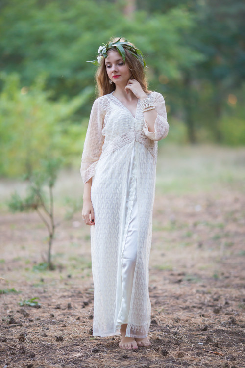 Oh Dove Ivory Lace Bridal Robe