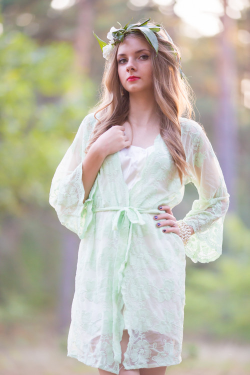 Oh Hope Mint Floral Lace Bridal Robe