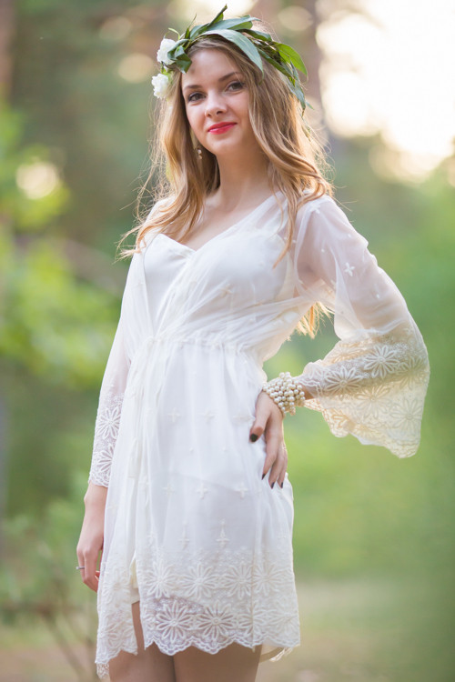 Oh Isabelle White Scalloped Lace Bridal Robe