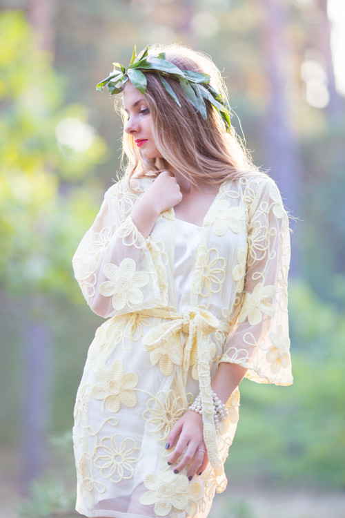 Oh Kim Light Yellow Floral Lace Bridal Robe