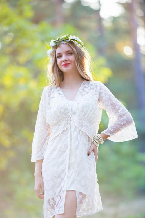 Oh Marissa Ivory Lace Bridal Robe