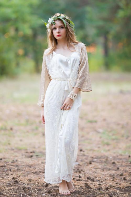 Oh Nora Ivory Glittery Lace Bridal Robe