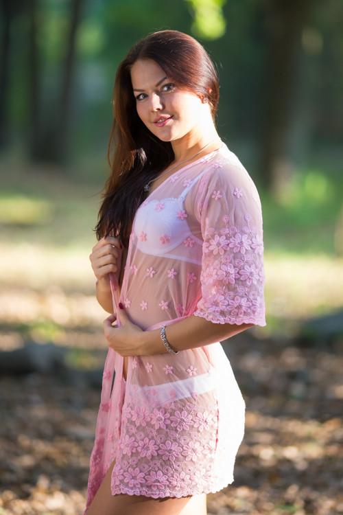 Oh Nita Pink Scalloped Floral Lace Bridal Boudoir Boudoir Robe