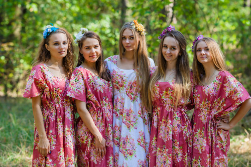 Side Strings Sweet 2 Style Kaftans for bridesmaids to get ready in
