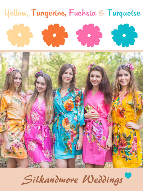Yellow, Tangerine, Fuchsia and Turquoise Wedding Color Robes