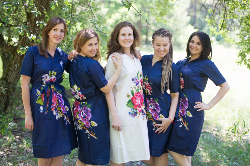 One Long Flower Housecoats for bridesmaids to get ready in
