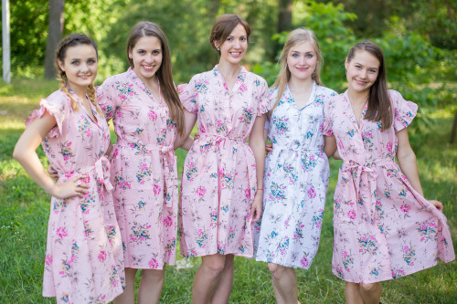 Romantic Floral Housecoats for bridesmaids to get ready in