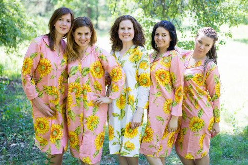 Sunflower Housecoats for bridesmaids to get ready in