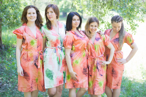 Watercolor Splash Housecoats for bridesmaids to get ready in