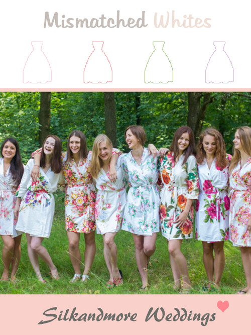 Mismatched White Patterns | SilkandMore Robes