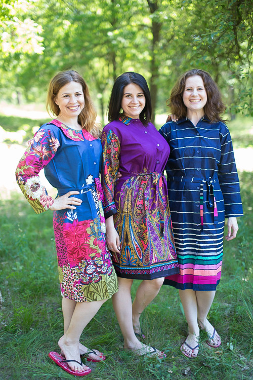 Assorted Patterns Housecoats for bridesmaids to get ready in
