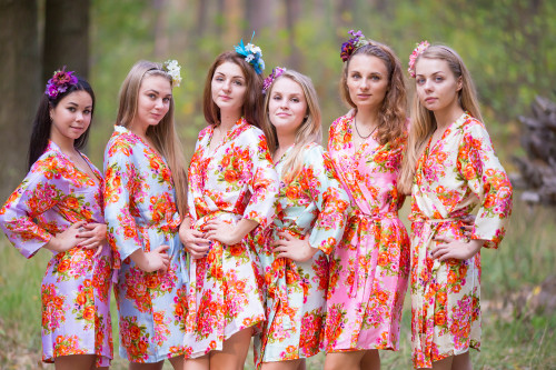 Mismatched Silk Floral Posy Robes in soft tones