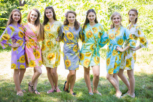 Mismatched Sunflower Sweet Robes in soft tones