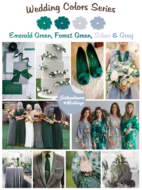 Emerald Green, Forest Green, Silver and Gray Wedding Colors ...