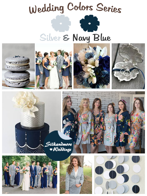 Silver and Navy Blue Wedding Color Palette - Robes by silkandmore