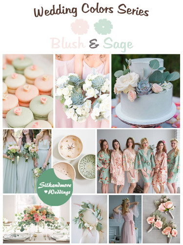 Blush And Sage Wedding Colors Palette Robes By Silkandmore