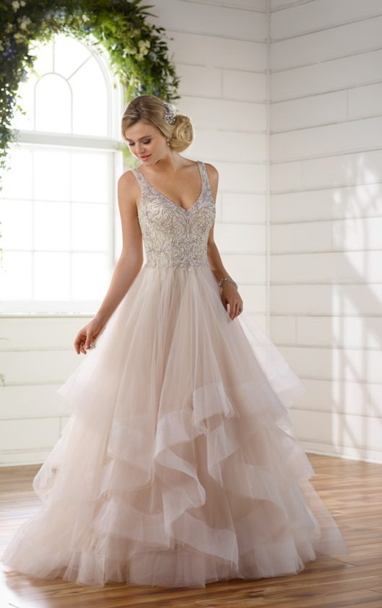 wedding dress with color essense of australia wedding dress style d2259 blush bridal 9280