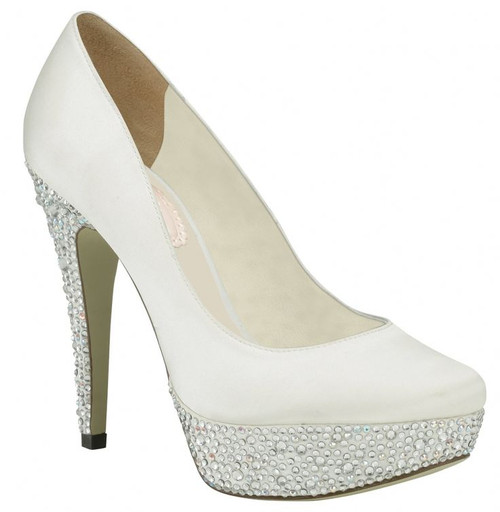 Sample- Discontinued - Bedazzle Dyeable Satin Bridal Pump