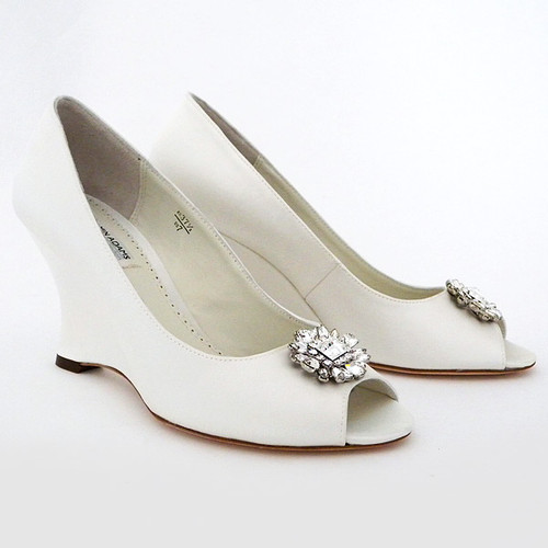 Sample Helen Wedge Wedding Shoes with Ornament