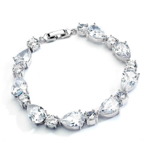 CZ Pears and Rounds Bridal or Bridesmaids Bracelet