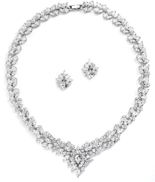 Regal Marquise CZ Statement Necklace and Earrings Set