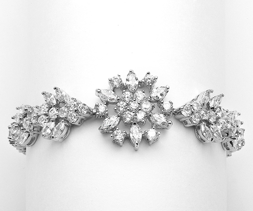 """Marquis Cluster Wedding or Pageant Bracelet 6 7/8"""""""