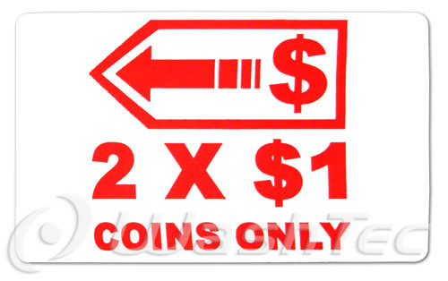 2 x $1 Coins Only (With Arrow) Decal