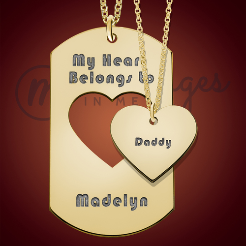 Gold My Heart Dog Tag