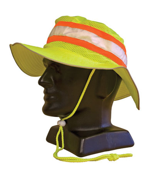 NEON Ranger Style Hat, Non-ANSI, Contrast Trim, Yellow