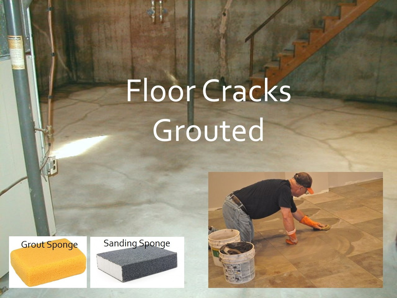 Using the same method to grout a tile floor , we grout all the cracks and holes.