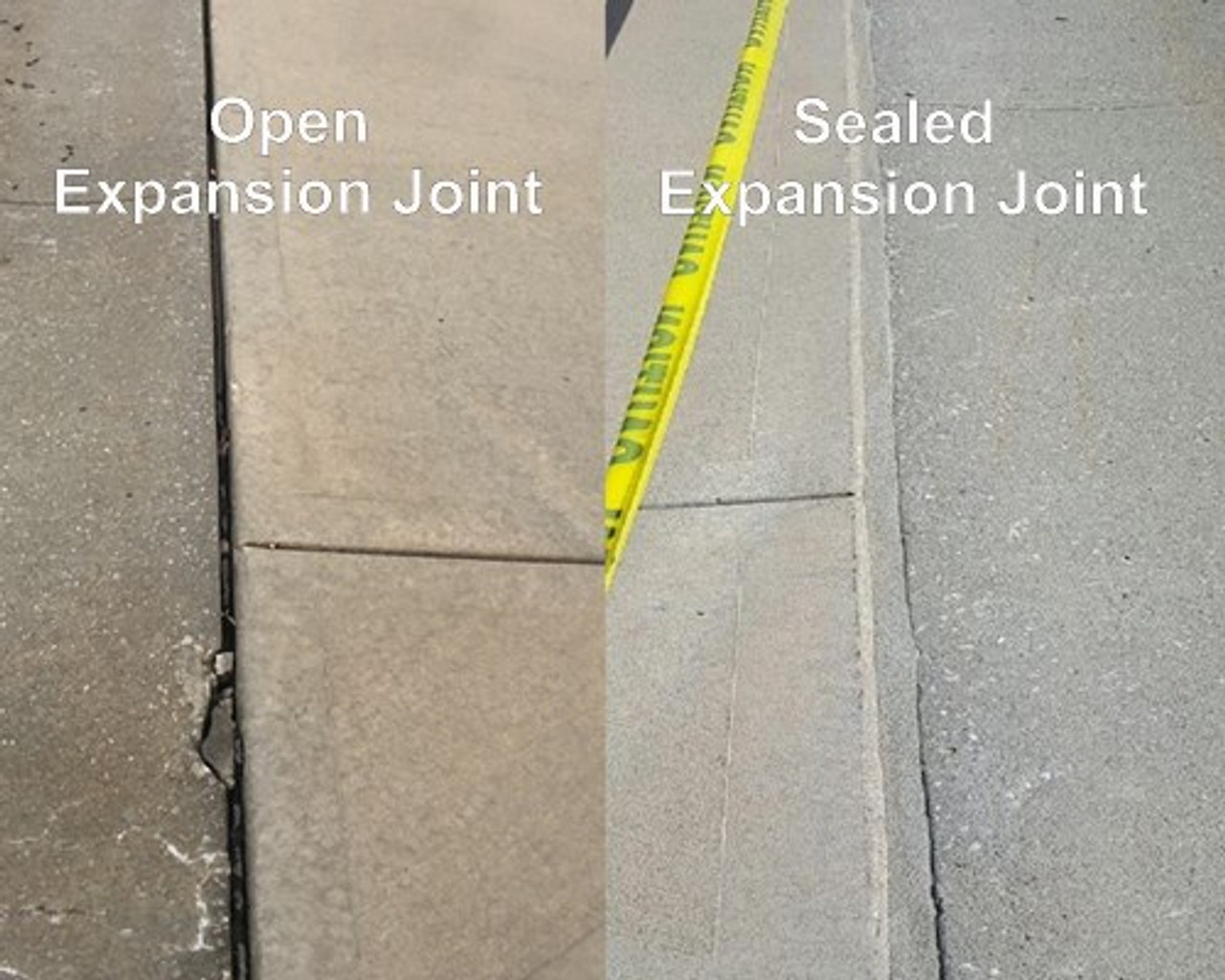 Before and After Picture of a repaired expansion joint