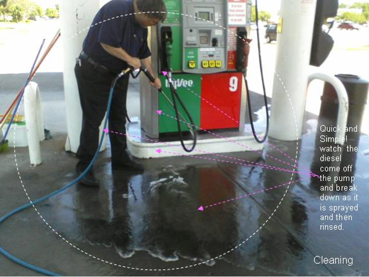 SealGreen Oil Cleaner Degreaser is frist applied to pump and then rinse with hose or pressure washer