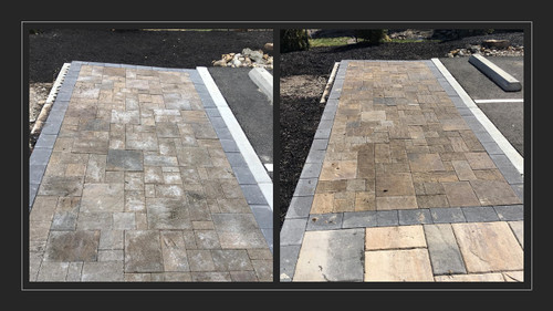 Before and After removing efflorescence of pavers