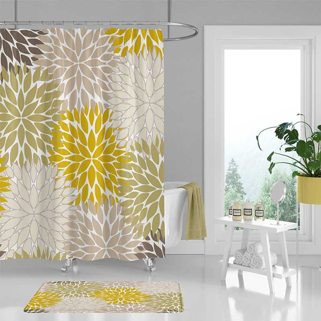 Olive Green Bathroom Ideas: Floral Shower Curtain And Bath Mat, Mustard Yellow, Green