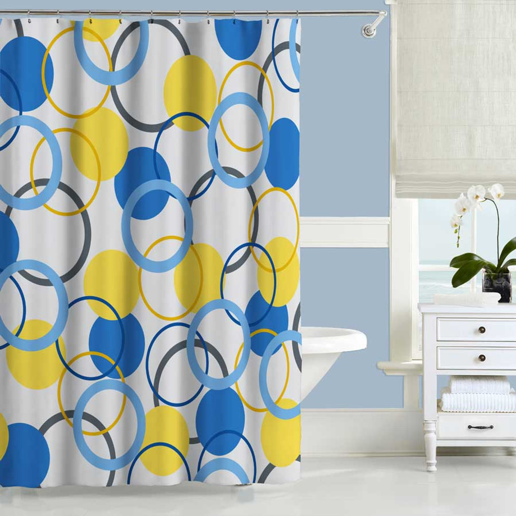Geometric Shower Curtain, Blue and Yellow