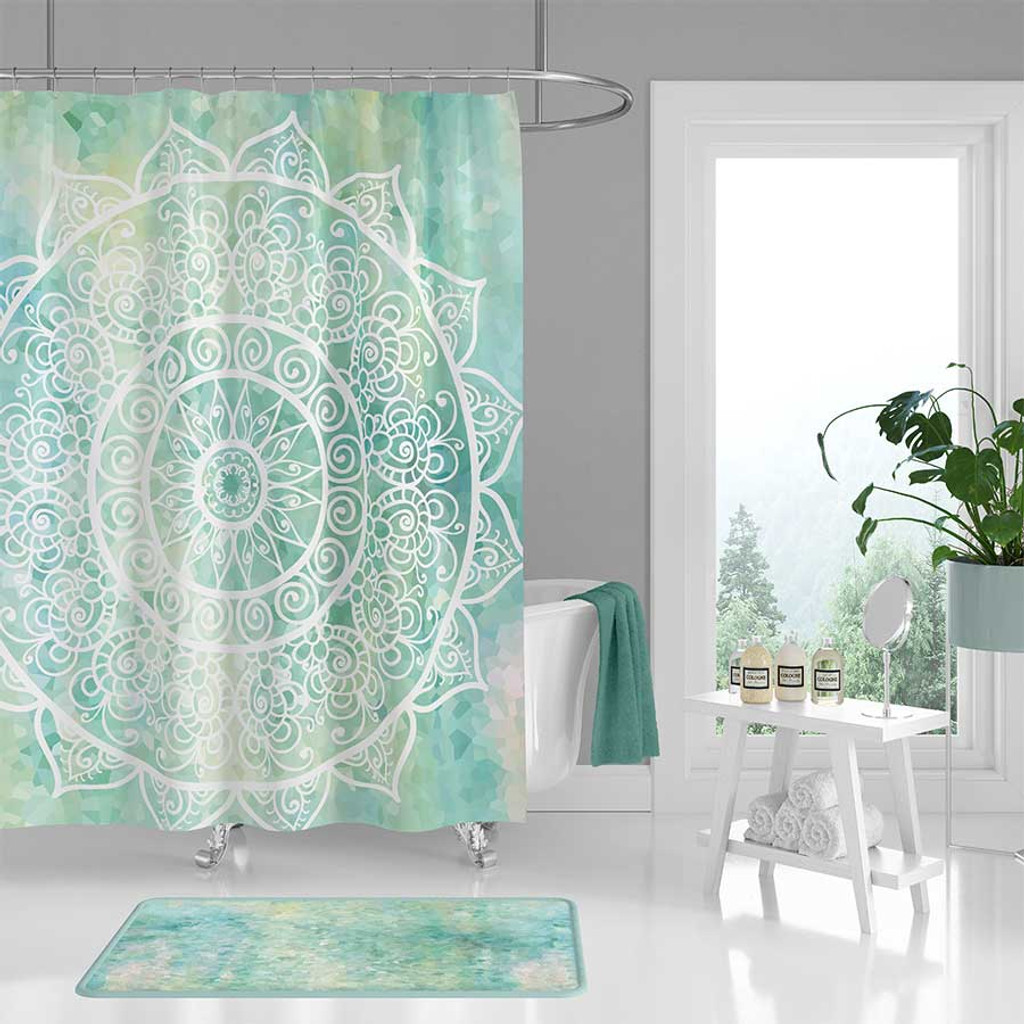 bohemian blue and mint green shower curtain with mandala