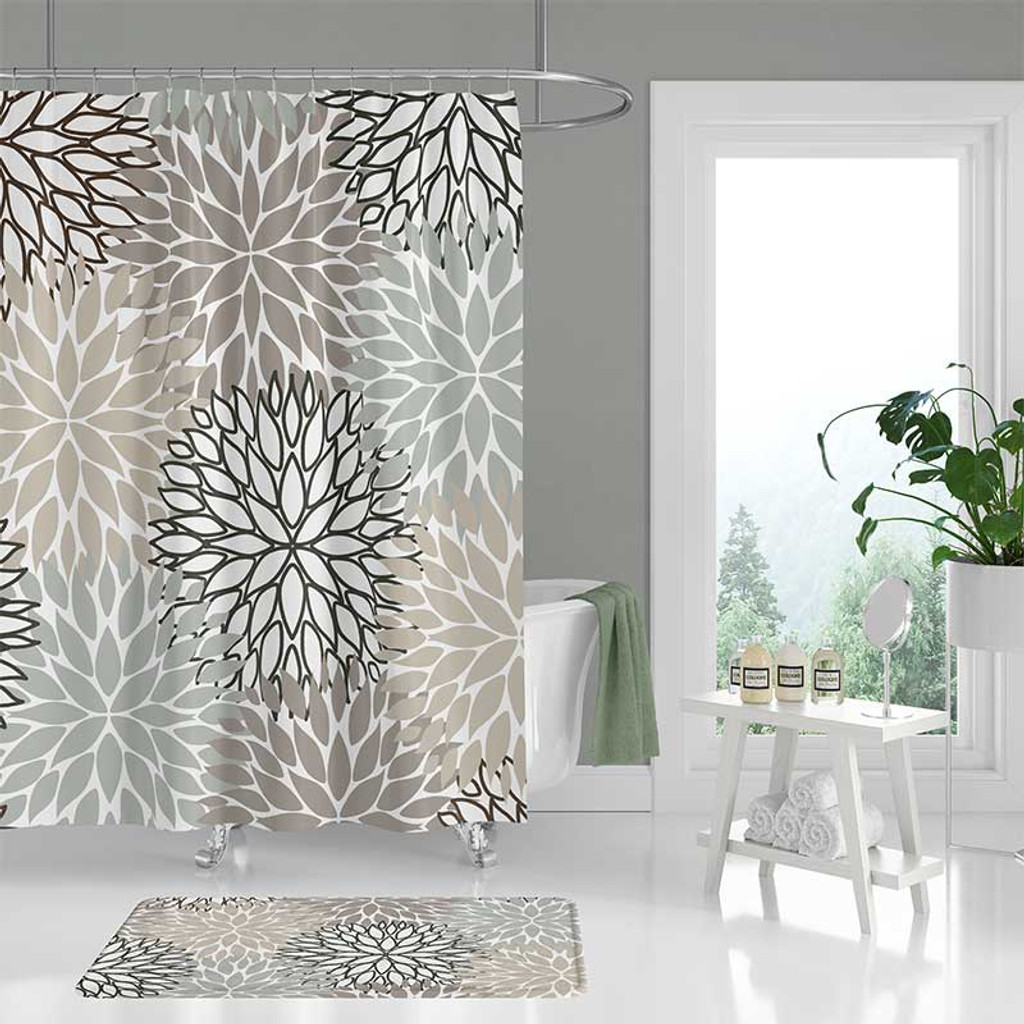 Gray And Beige Shower Curtain Set With Floral Design