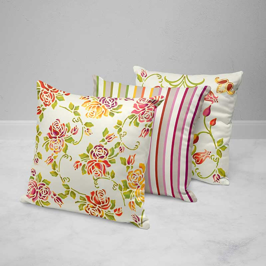 Floral Pillow Covers, Colorful Cushions, Red, Yellow, Purple