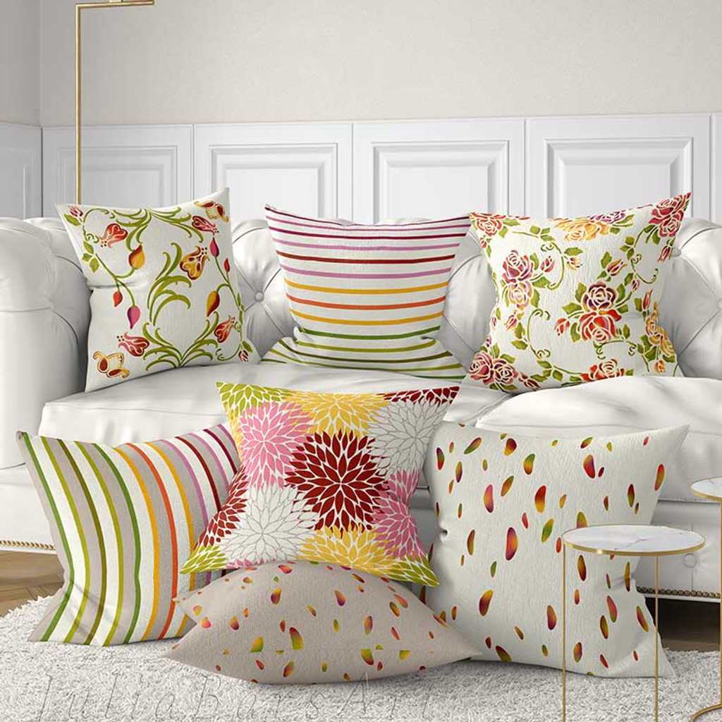floral pillow covers, striped throw pillows in red, pink, yellow and purple
