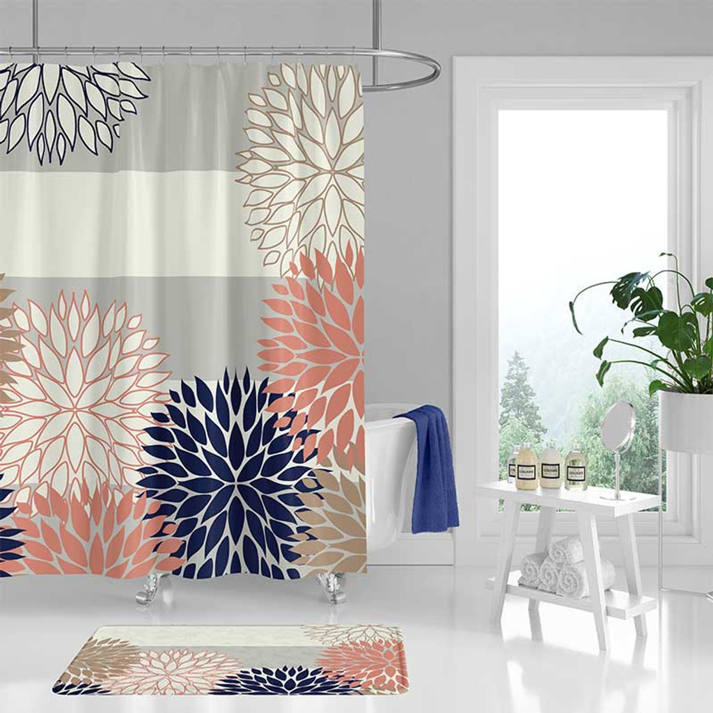 Floral Bathroom Curtain, Gray, Blue and Pink Shower Curtain and Bath Mat