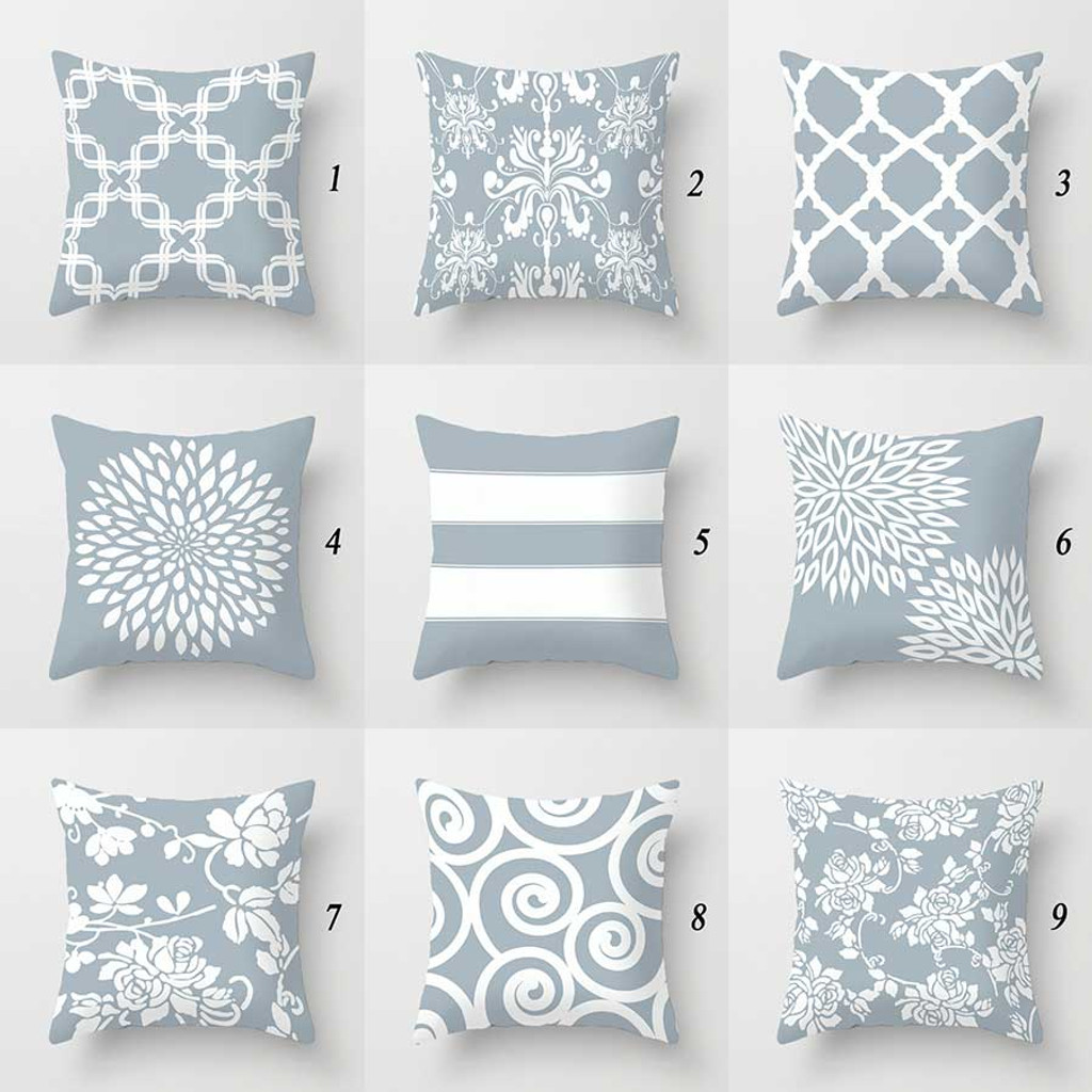 Designer Pillow Covers Geometric Floral Damask Patterns in Pale