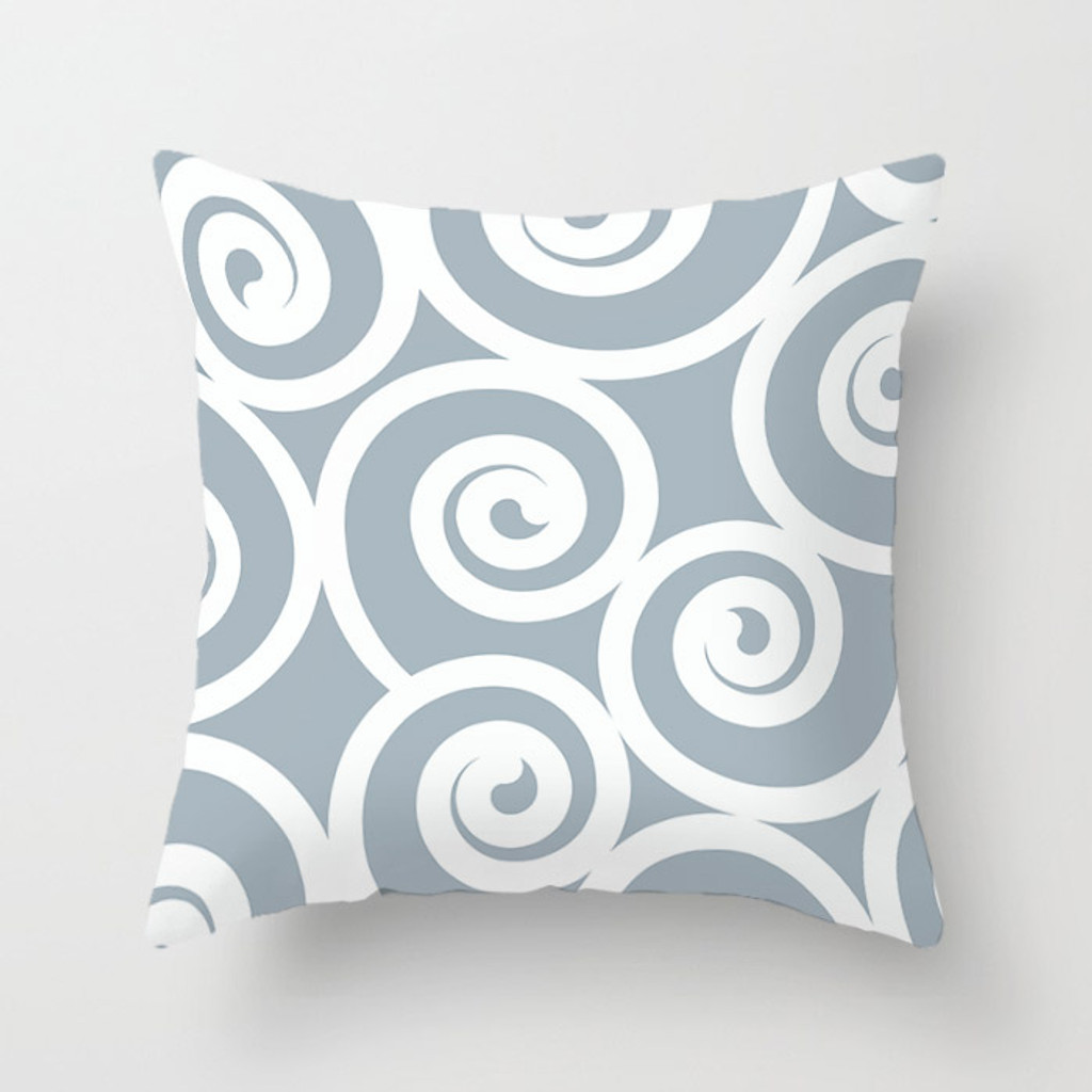 original throw pillow in pale blue with spirals design