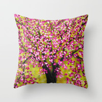 decorative cushion in pink and apple green