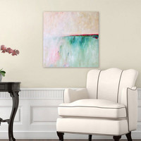 Ocean art, abstract giclee print in turquoise and pink