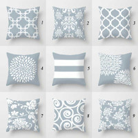 gray and white designer throw pillows with original designs