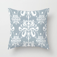 pale blue and white damask pillow