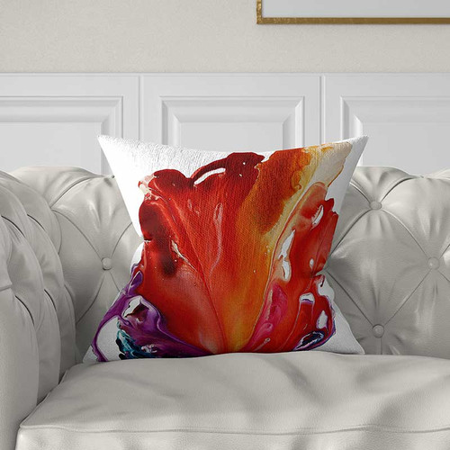 red, purple and white decorative pillow, art throw pillow cover